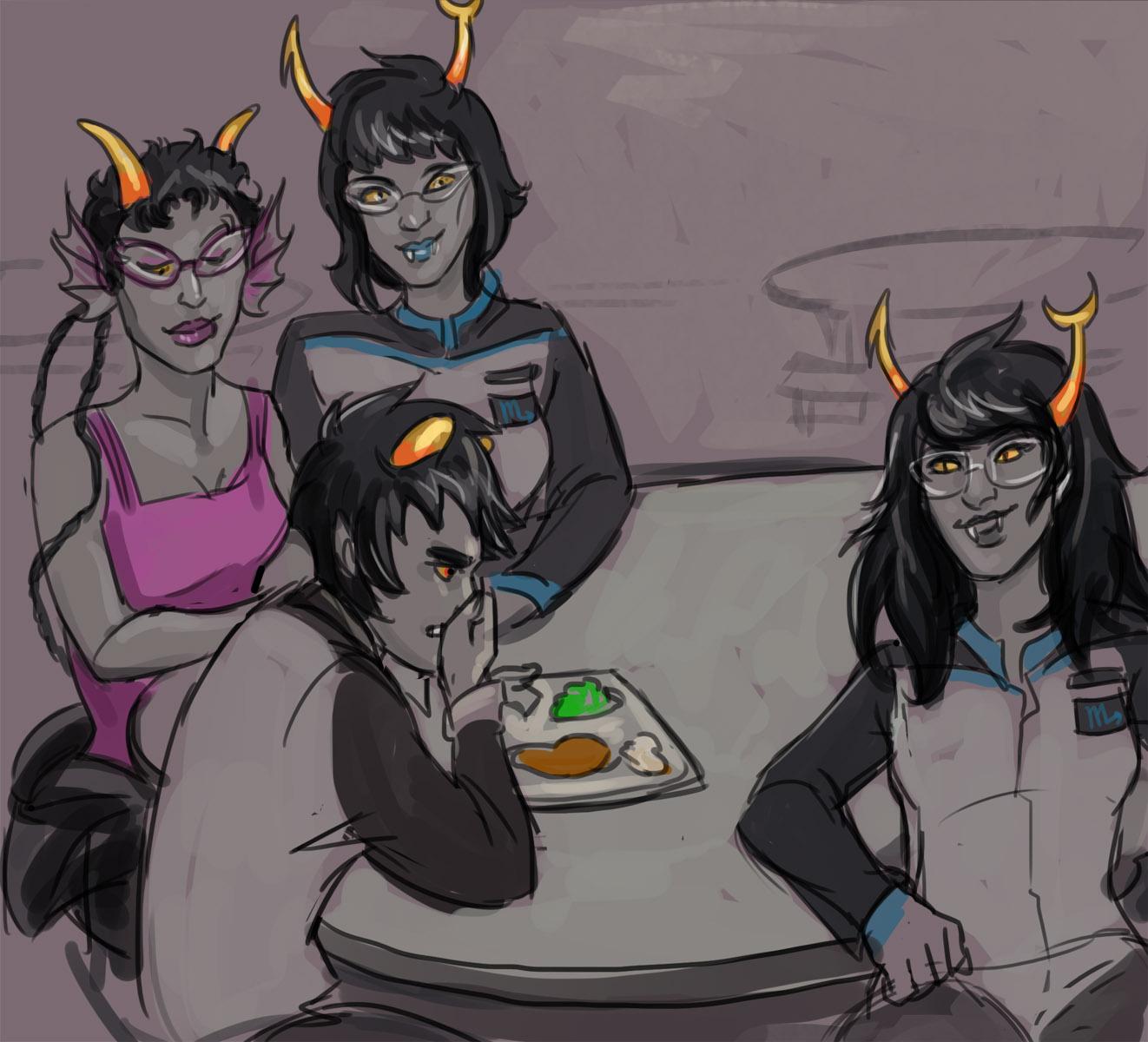 Karkat, Meenah, Vriska and Aranea at breakfast.