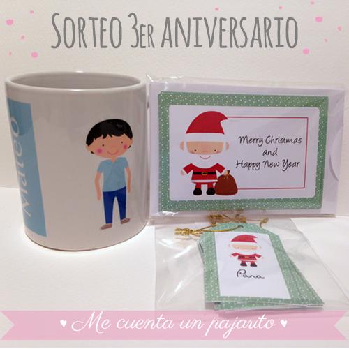 Sorteo 3er aniversario, taza personalizada, felicitaciones y etiquetas de Navidad