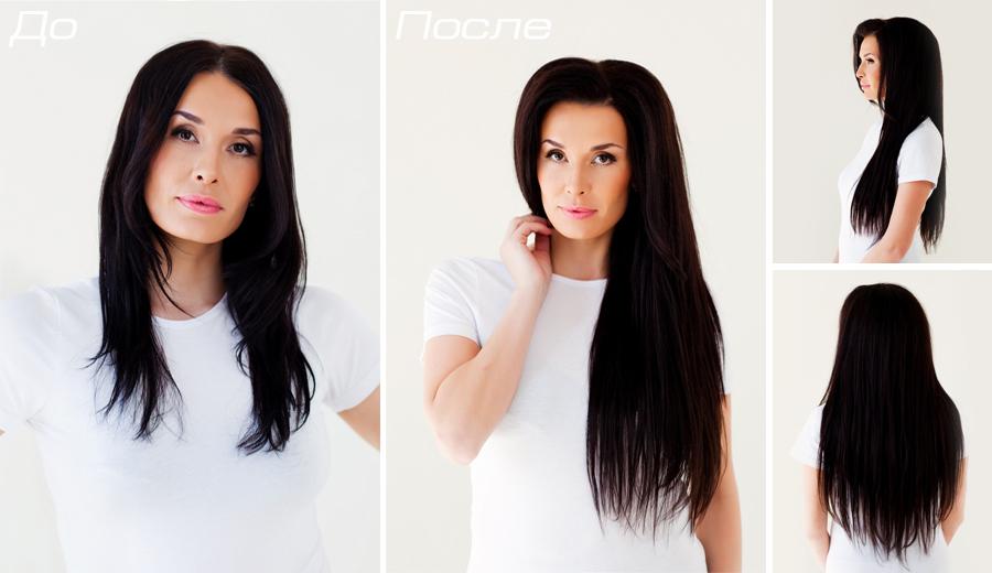 До и после ленточного наращивания волос