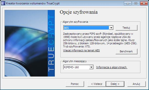 szyfrowanie aes truecrypt benchmark