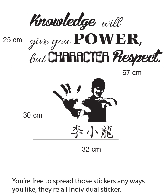 Knowledge will give you power but character respect life inspirational Quote Removable wall decal