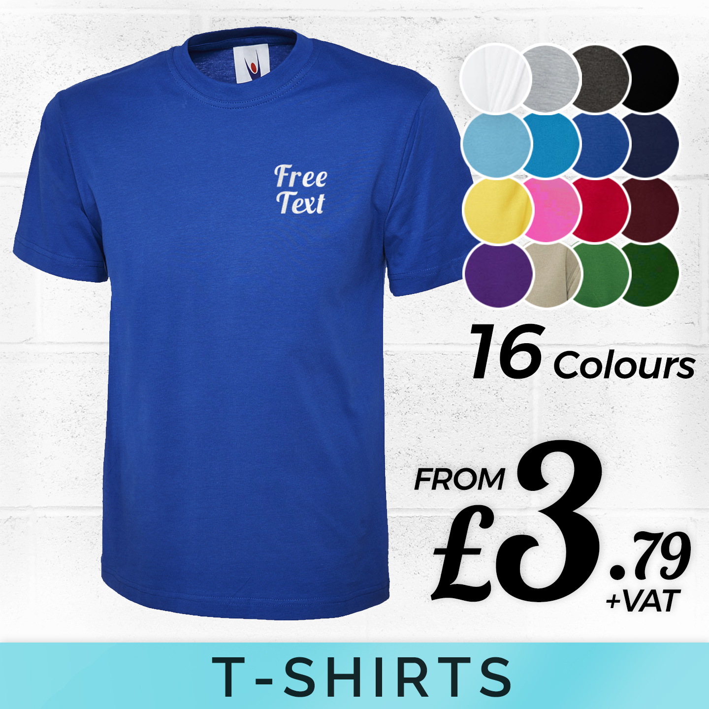 Custom embroidered polo shirt personalised free text for Custom printed t shirts in bulk