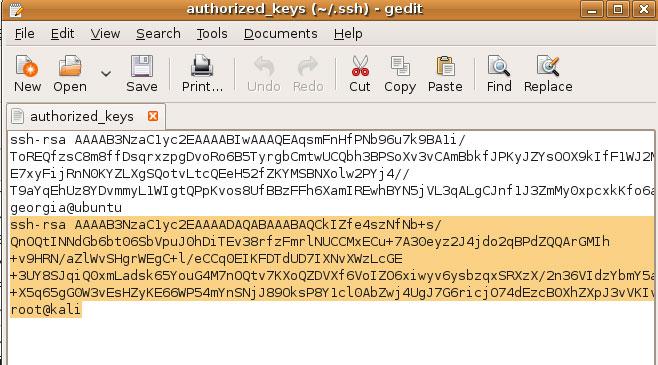 Publiczne klucze w authorized_keys