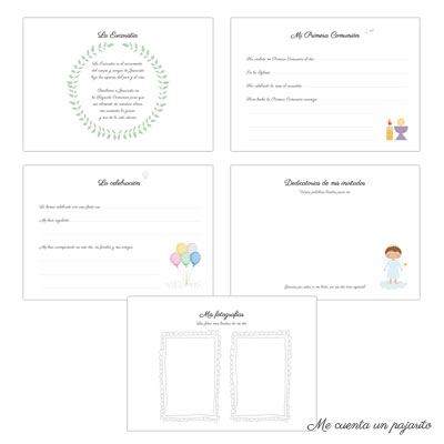 Álbun de Primera Comunión personalizado de firmas y fotografías niña, niño