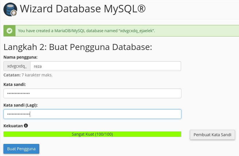 Buat Pengguna Database