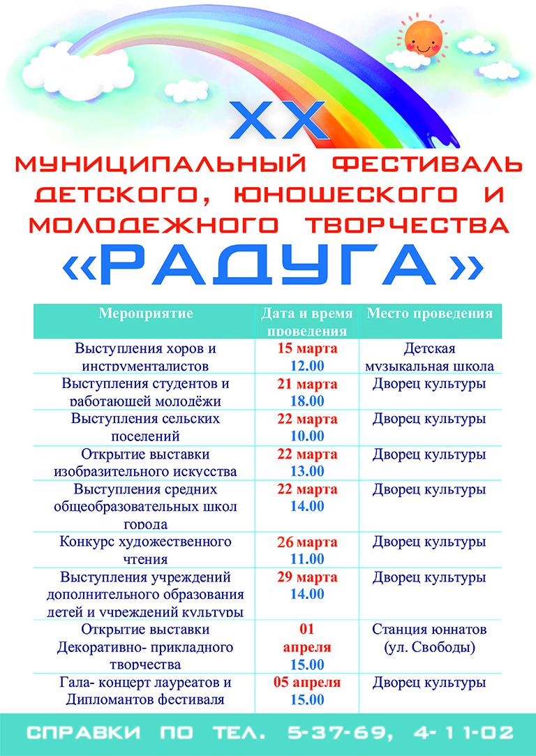Афиша ХХ муниципального фестиваля детского