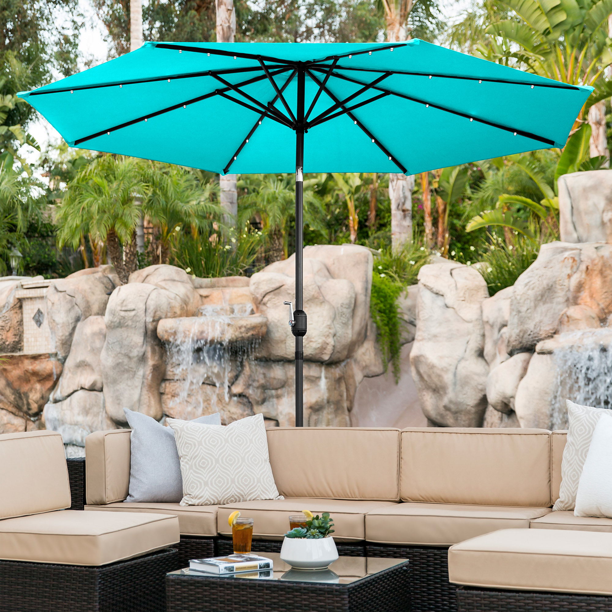 BCP-10ft-Solar-LED-Lighted-Patio-Umbrella-w-Tilt-Adjustment-Fade-Resistance thumbnail 31
