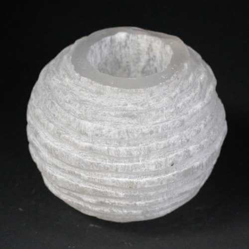 selenite candle holder - snowball