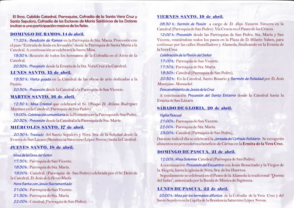 Programa de actos religiosos de la Semana Santa en Sigüenza