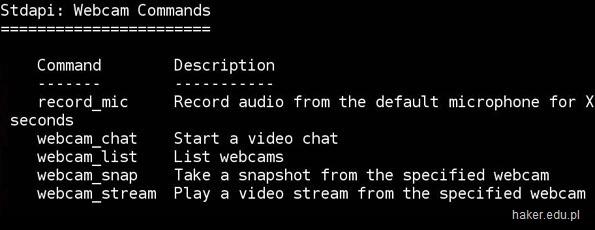 Jak włączyć kamerkę w laptopie zdalnie. Opcje w Kali Linux (webcam_stream)