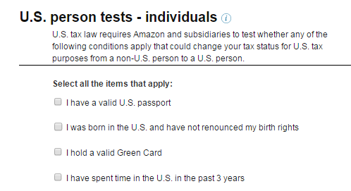 US Person tests individuals amazon kdp