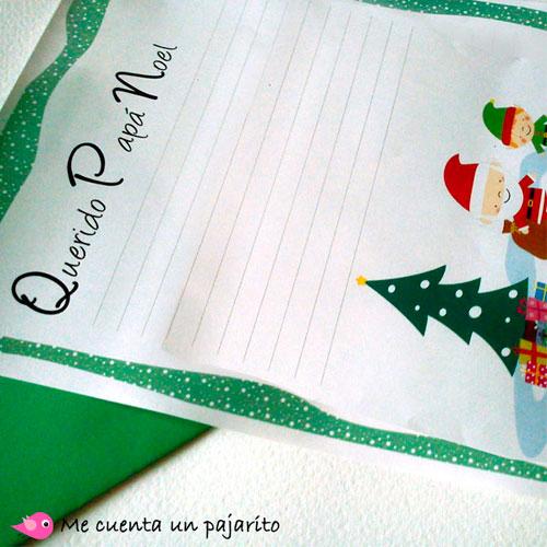 Carta para escribir los regalos a Papá Noel