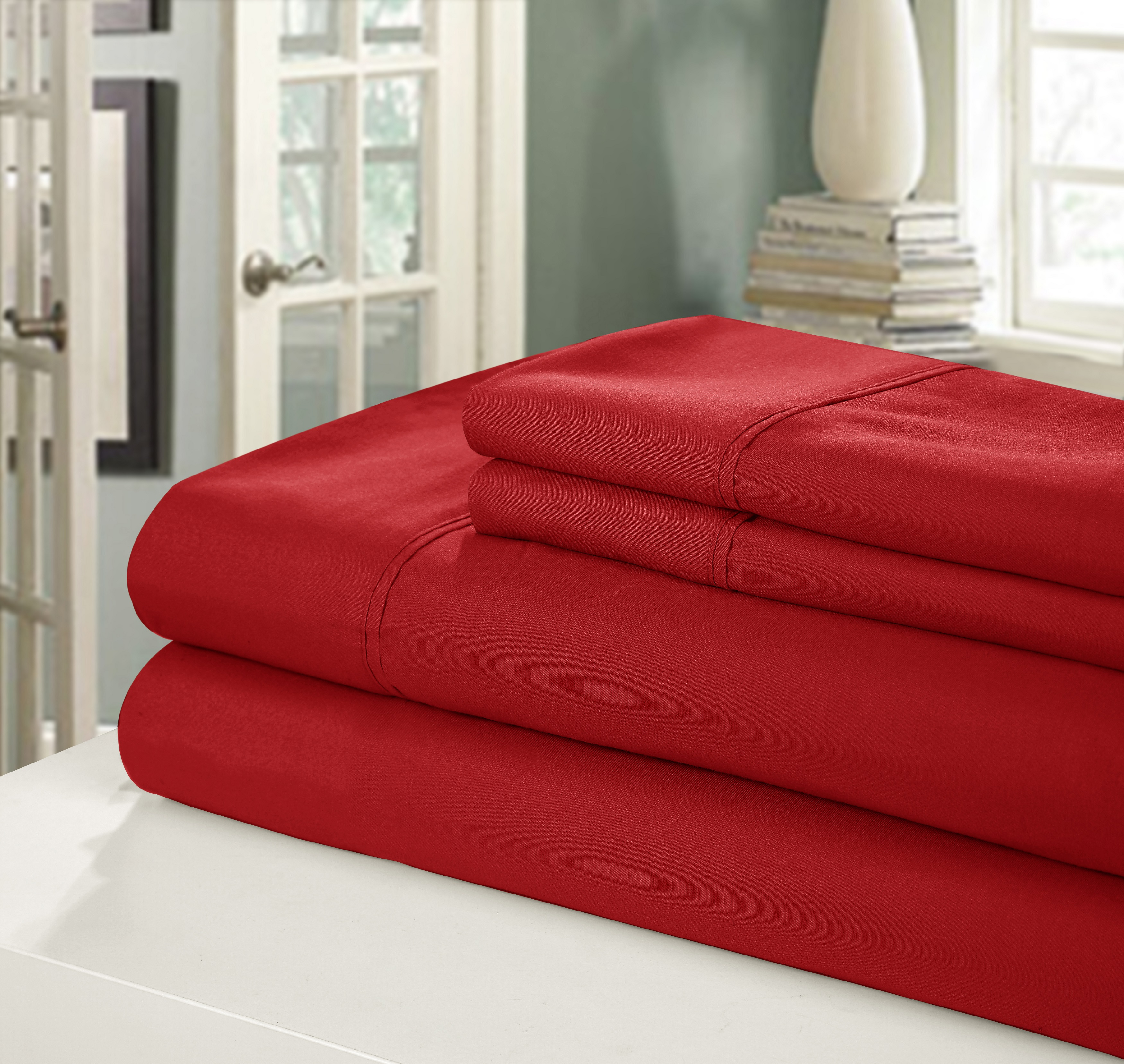 Chic Home NEW!! Chic Home 400 Series Peach Skin Microfiber 4-Piece Sheet Set Ensemble, Full, Red