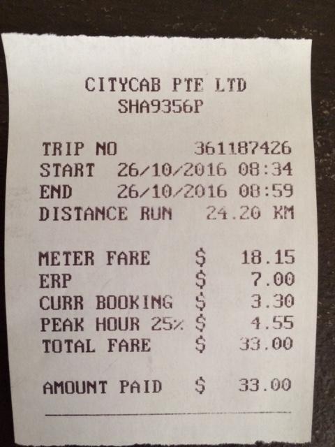 Singapore Taxi Receipt