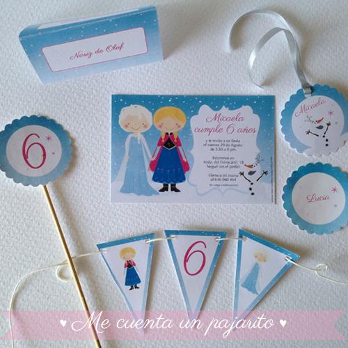 Papelería personalizada del cumpleaños de Frozen con Elsa y Ana