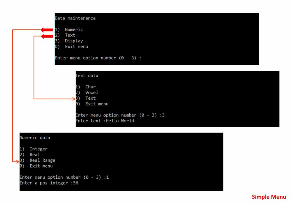 Simple Menu, C++17