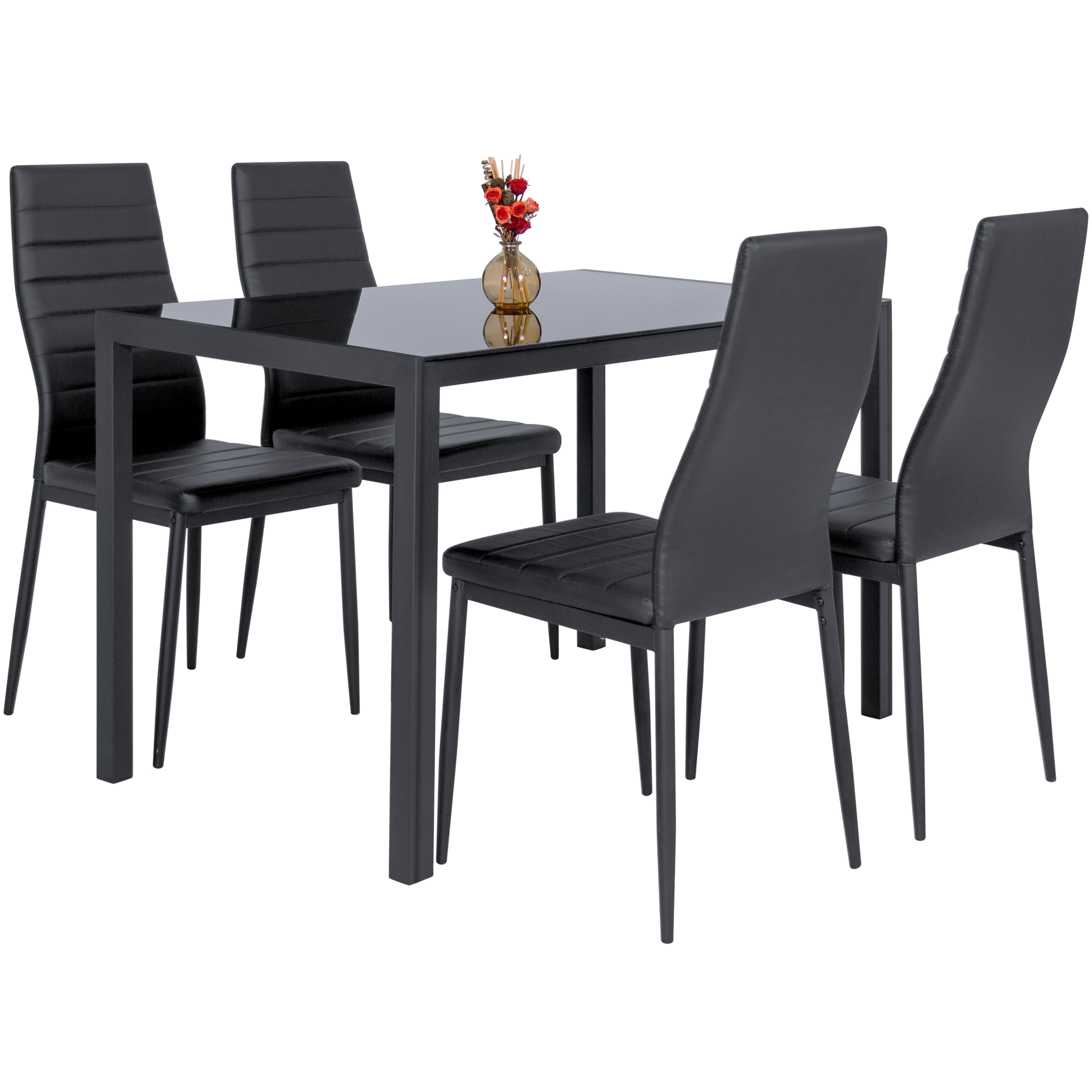 5pc Set Round Dinette Kitchen Table W 4 Microfiber: 5 Piece Kitchen Dining Table Set W Glass Top And 4 Leather