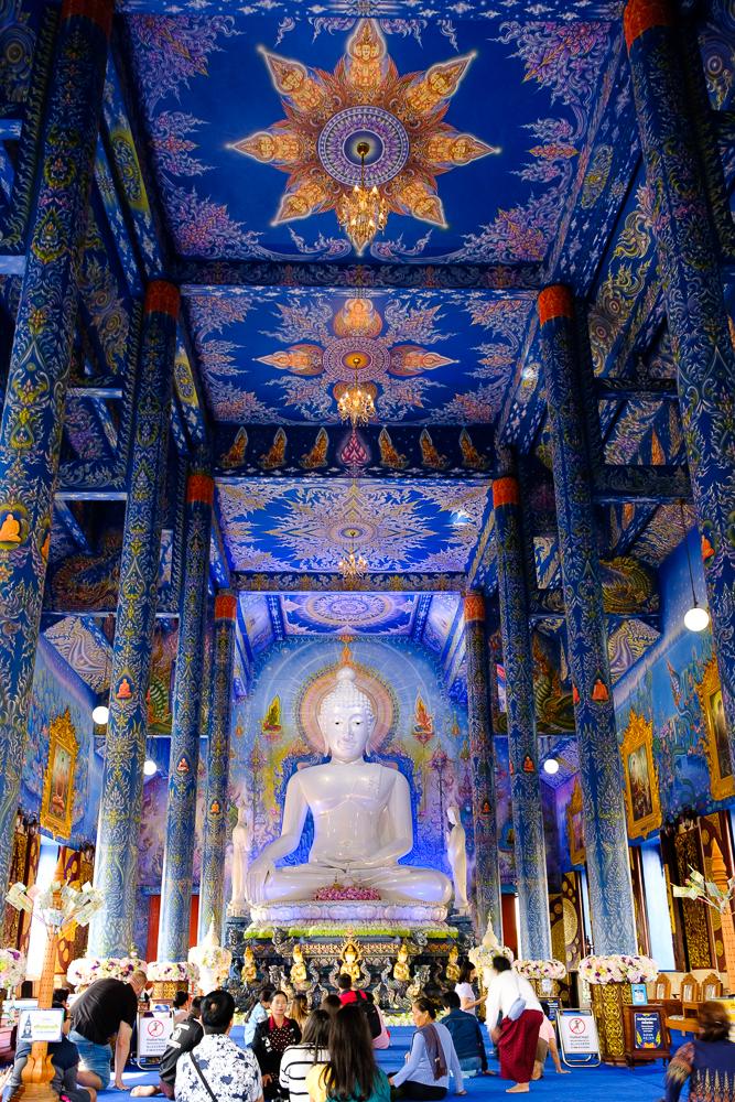blauwe tempel binnenin