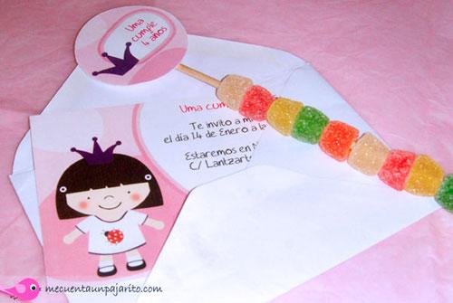 Cumpleaños de la princesa Uma, Invitación de cumpleaños y toppers