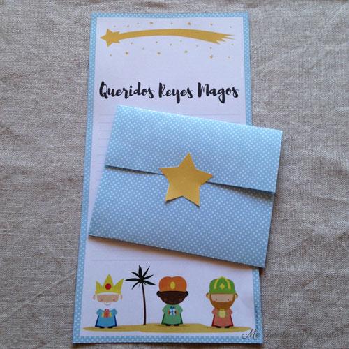 Carta para los Reyes Magos con sobre,  imprimible gratis, descargable