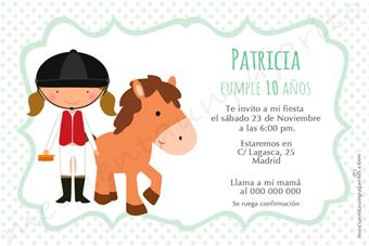 Invitación de cumpleaños de la amazona con el pony