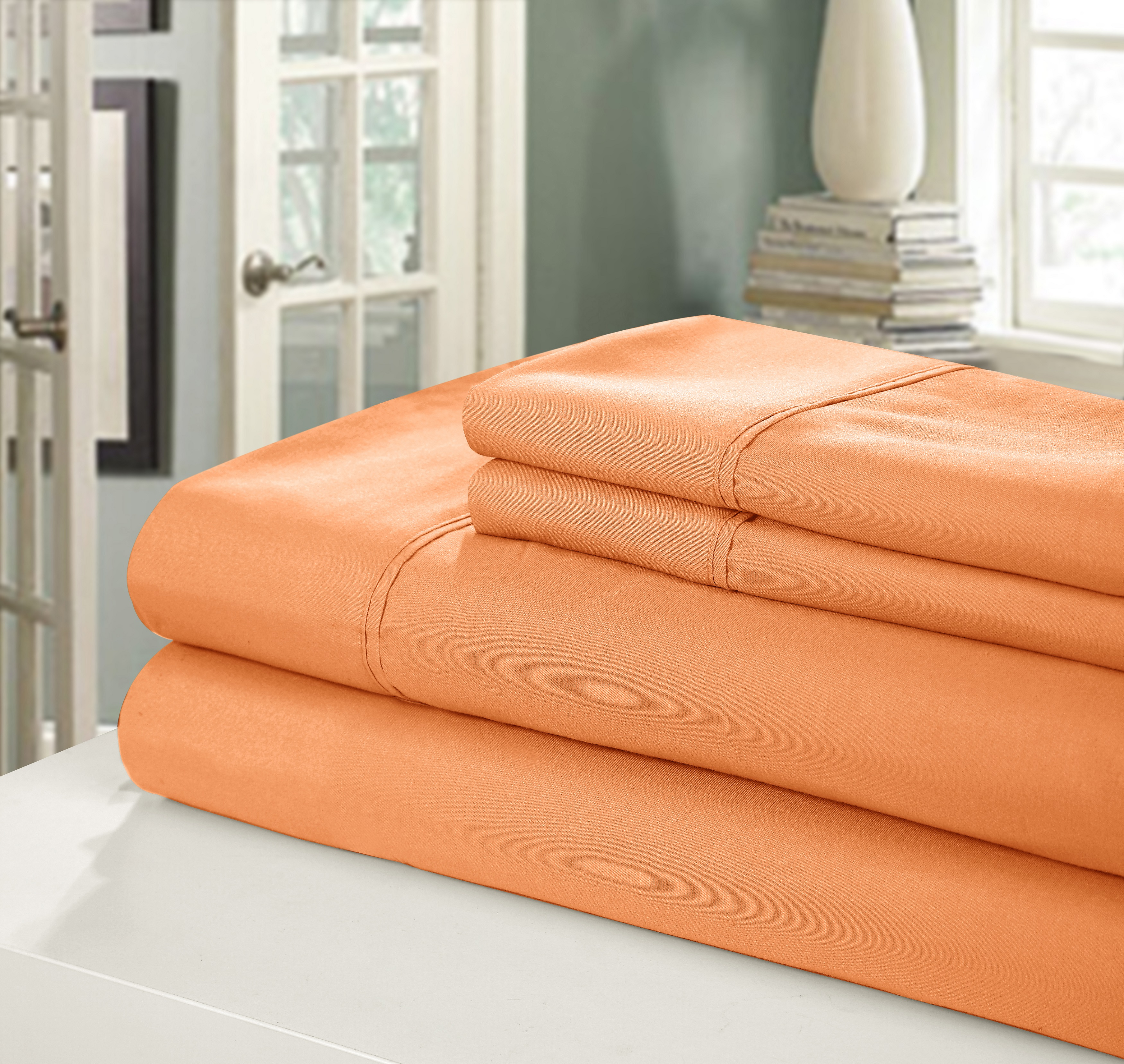 Chic Home NEW!! Chic Home 400 Series Peach Skin Microfiber 4-Piece Sheet Set Ensemble, Queen, Orange