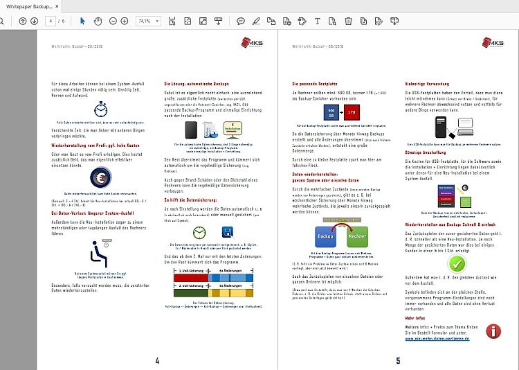 Der Adobe Reader kann für Zeitschriften etc. zwei Seiten nebeneinander anzeigen.