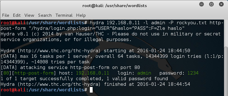 Atak słownikowy THC-HYDRA po protokole HTTP POST.