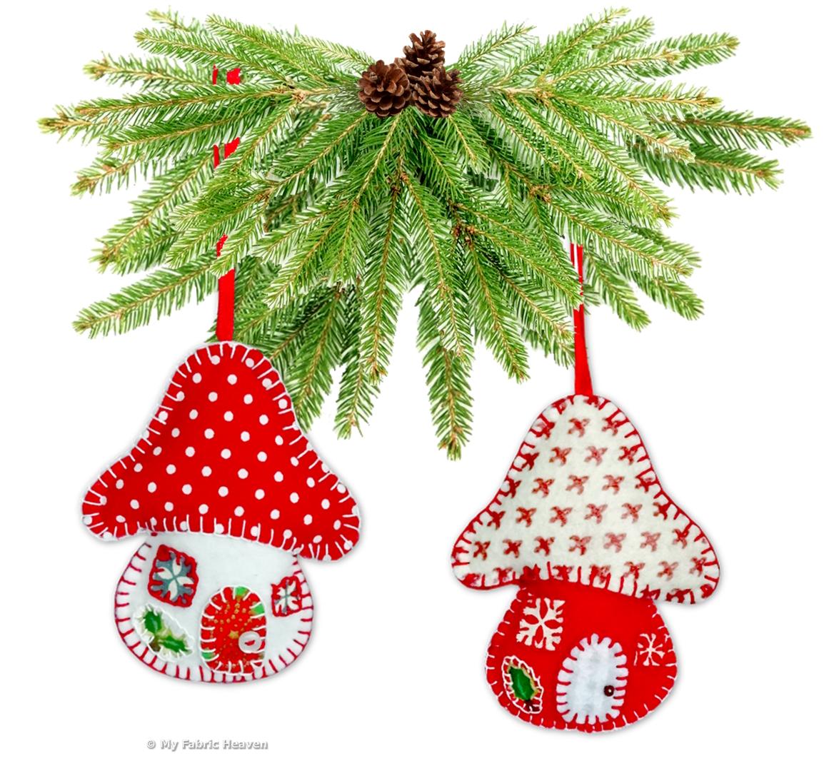 FELT Toadstool House Christmas Tree Decoration Ornament ...