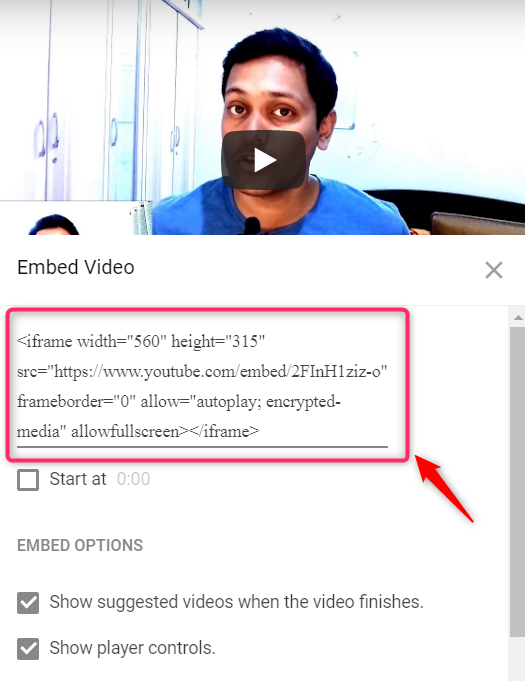 iframe code in youtube embed option