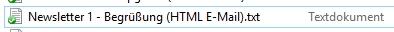 Beispiel-Datei mit 3 Zeichen im Dateiformat