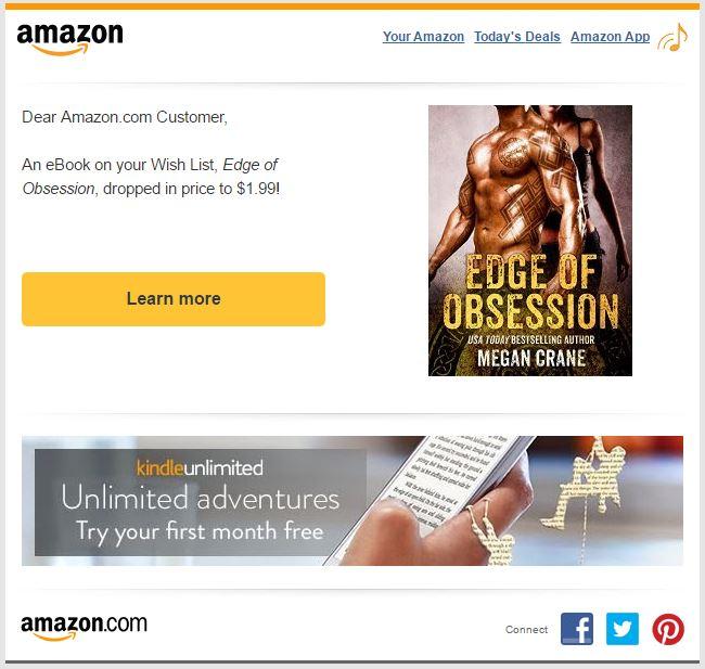 Amazon wish list price drop email notification