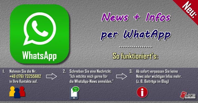 Erhalten Sie regelmäßig neue Infos, Tipps, Tricks + Anleitungen zu EDV, Internet, Multimedia und weiteren Themen - direkt per WhatsApp.