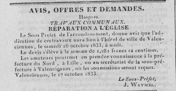 1833 - Réparation de l'église