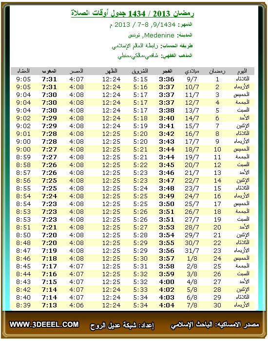 امساكية رمضان 2013 – 1434   تونس مدنين - امساكية شهر رمضان تونس مدينة مدنين 2013 - امساكية رمضان جميع الدول العربية 2013