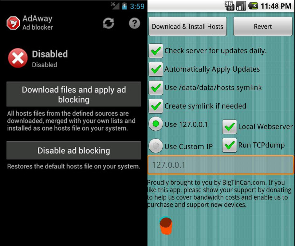 rimuovere pubblicità da android adaway adfree