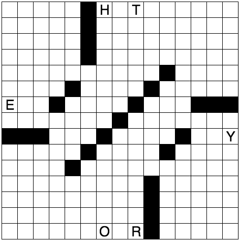 NYT grid with 8 constraints and black squares