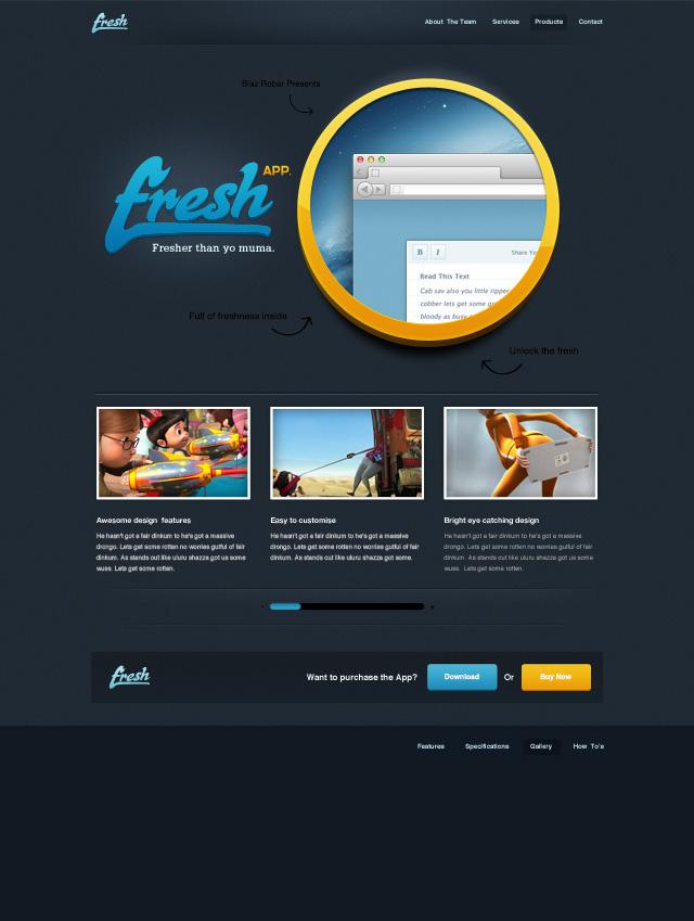 Fresh App free website photoshop template