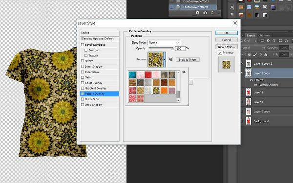 Select a Photoshop pattern and adjust the scale