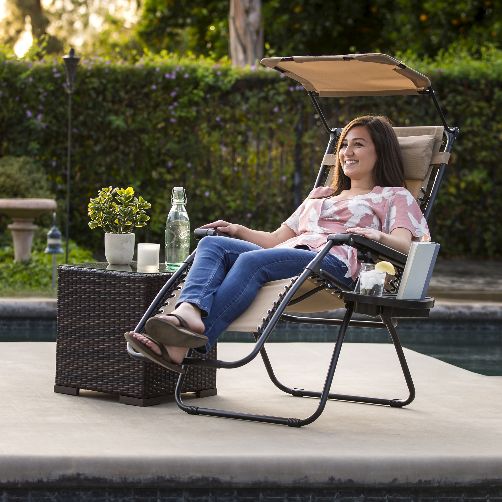 BCP-Folding-Zero-Gravity-Recliner-Lounge-Chair-w-Canopy-Cup-Holder thumbnail 9