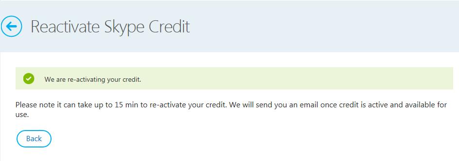 Skypeクレジットの再有効化をする。5