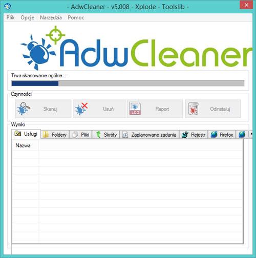 adwcleaner skanowanie komputera