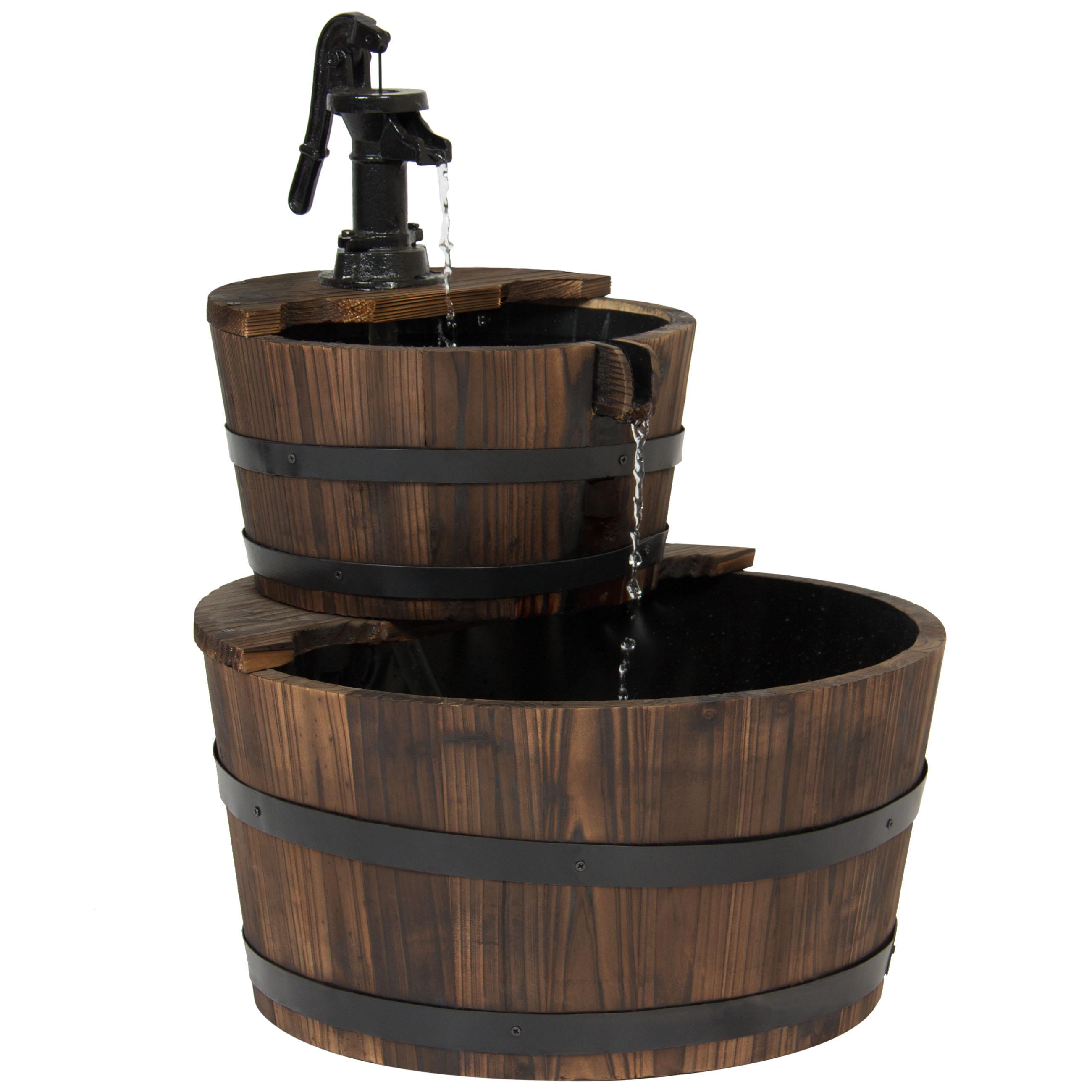 Outdoor Garden Decor 2-Tier Wood Barrel Water Fountain W ...