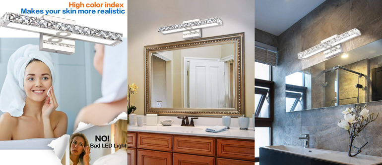 Tech 700bcgiar Gia Contemporary Led Bathroom Lighting: SOLFART Crystal Wall Mirror Vanity Light Fixtures For