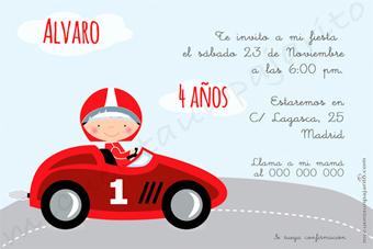 Invitación de cumpleaños del piloto del coche rojo