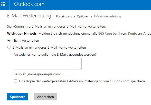 Möglichkeit zur Weiterleitung von E-Mails bei outlook.com.