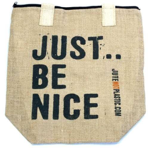 eco jute bag - just be nice (black)