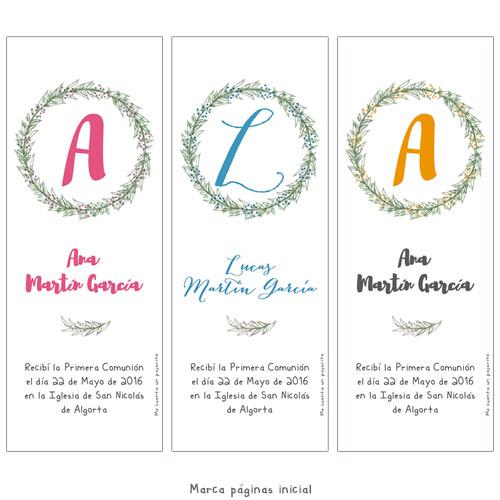 Marca páginas de Primera Comunión personalizado niña, niño, inicial, nombre, flores, corona ramas, marcalibro
