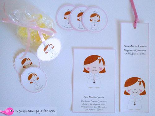 Recordatorio de primera comunión niña, etiquetas y marca-páginas, punto de libro