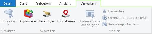 Zusätzliche Symbolleiste vom Windows Explorer: Die Registerkarte Verwalten erscheint, sobald ein Laufwerk ausgewählt wird.
